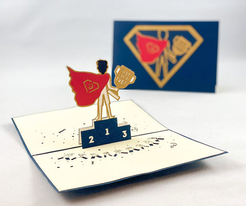 Tian's Gifts:  Super Hero or Champion  'Pop Up' Greetings Card