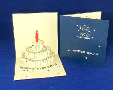 Tian's Gifts: Blue 'Pop Up' Birthday Card