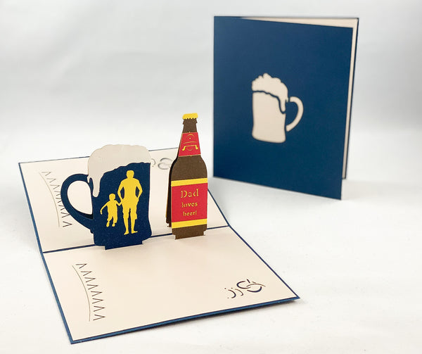 Tian's Gifts:  Beer Lover 'Pop Up' Greetings Card
