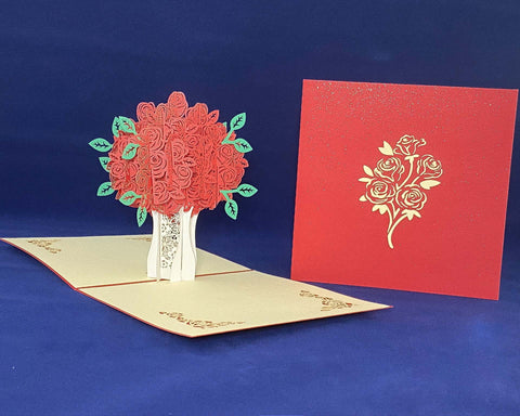 Tian's Gifts: Rose Flower 'Pop Up' Greetings Card