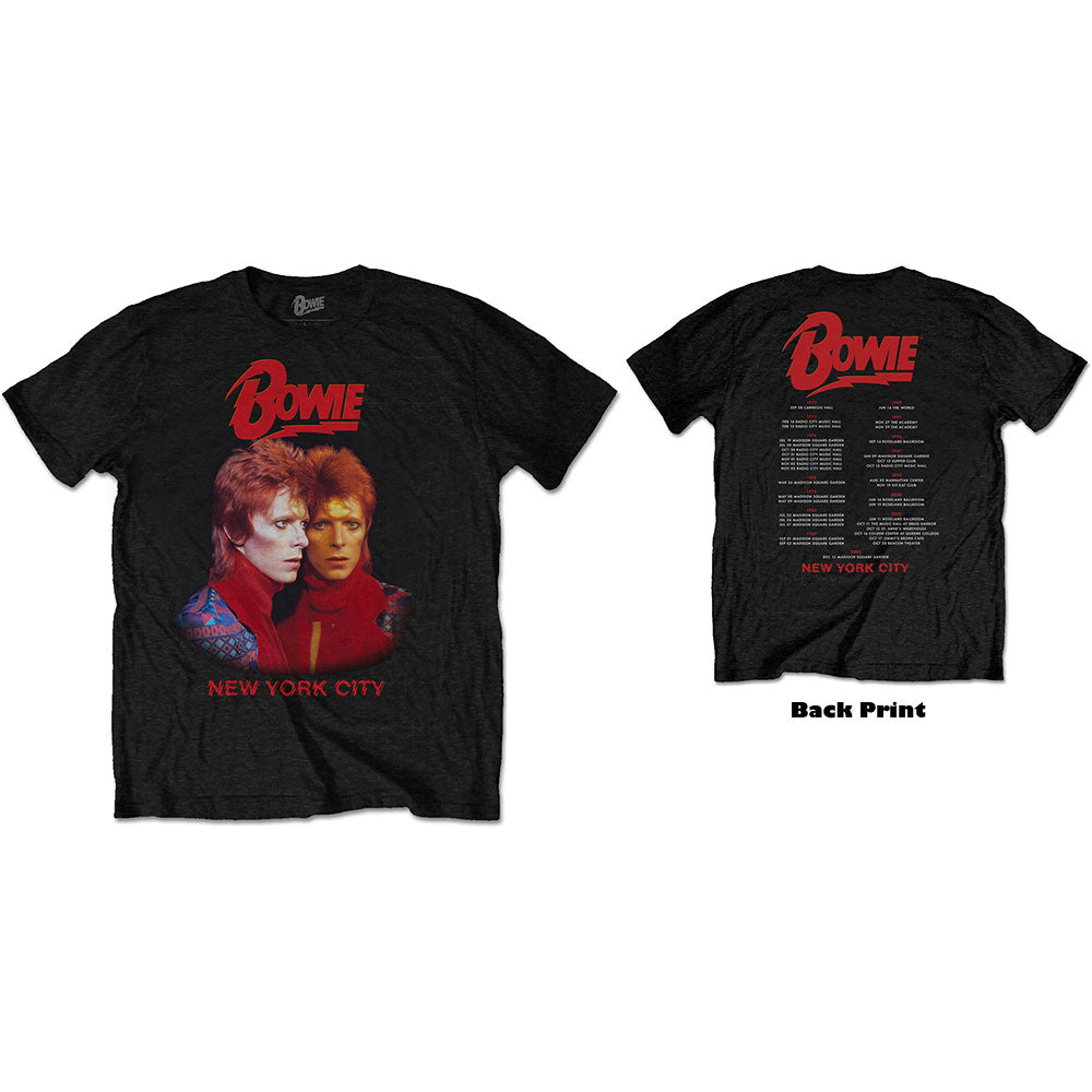 David Bowie Unisex Tee: New York City (Back Print)