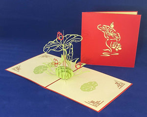 Tian's Gifts: Lotus Flower 'Pop Up' Greetings Card
