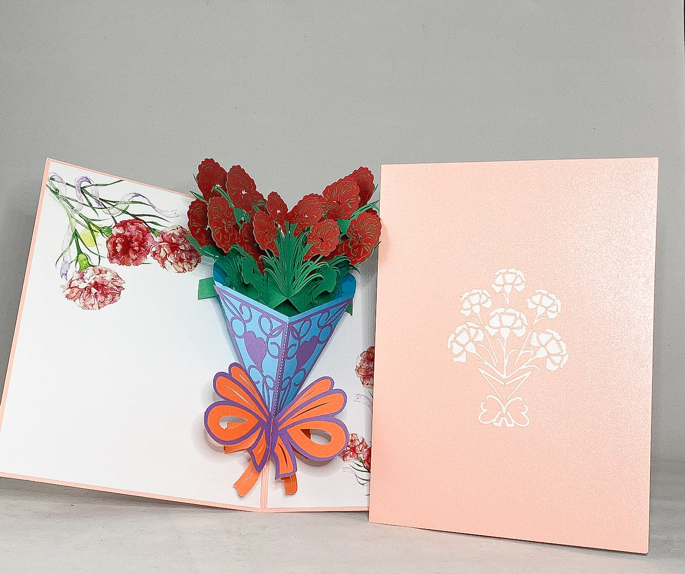 Tian's Gifts: Carnation Flower 'Pop Up' Greetings Card