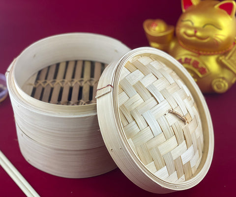 Dumplings & Buns: Bamboo Steam Basket ( 2 Tiers + Lid)