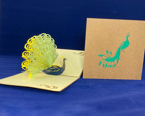 Tian's Gifts: Green Peacock 'Pop Up' Greetings Card