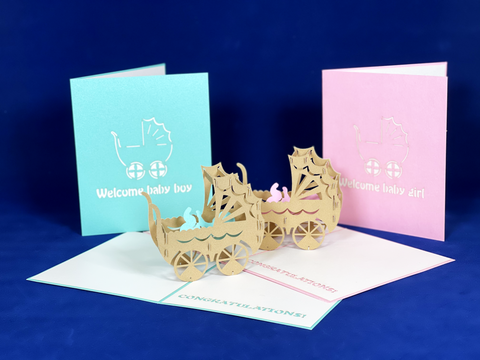"Tian's Gifts: ""Welcome Baby Boy/Girl' Pop-up Cards"