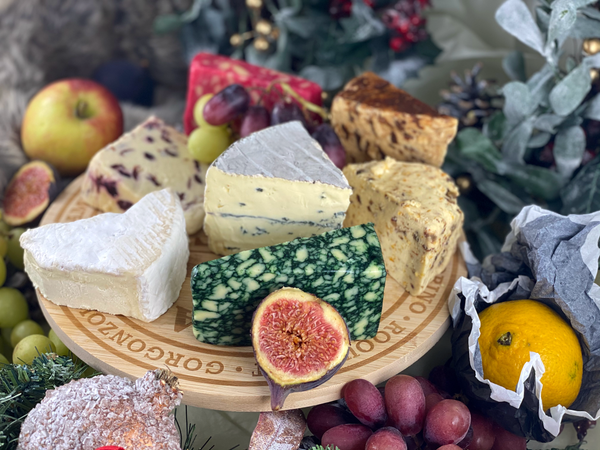 Matthews Cheese: Christmas luxury cheese selection on wooden crafted cheese board