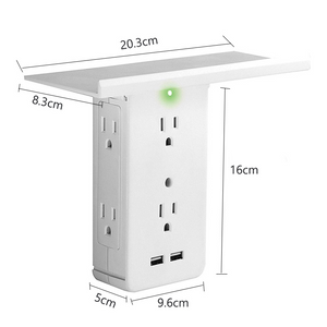 Switch Socket Shelf 6 Electrical Outlet Extenders 2 USB Charging Ports