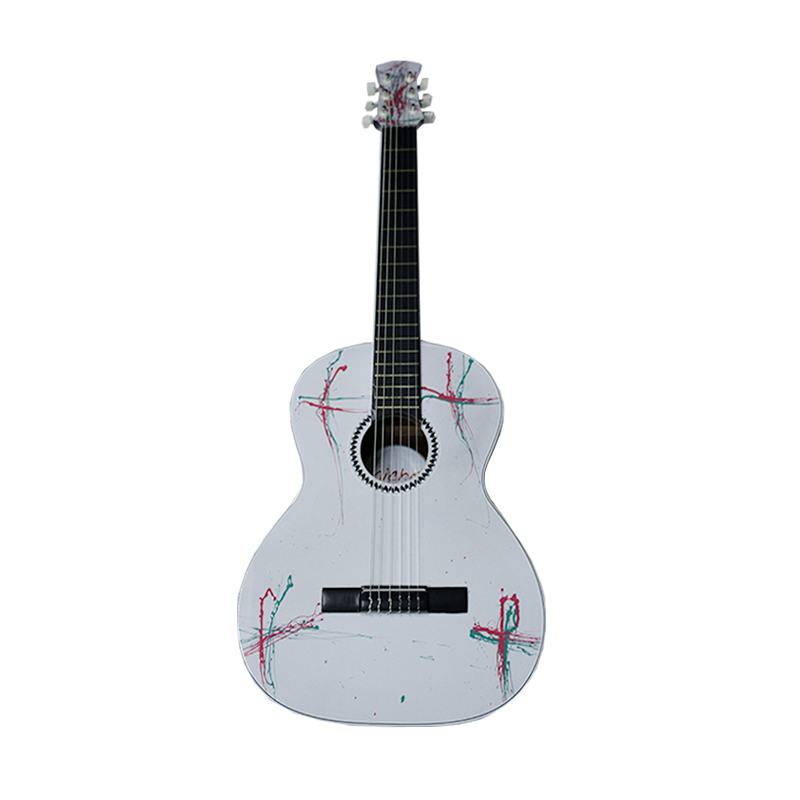 "GUITARRA MICHE 39"" BLANCA ESTAMPADA"