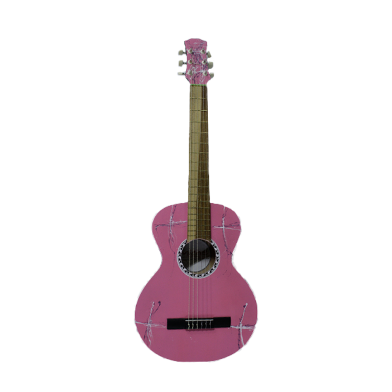 "GUITARRA AC MICHE 36"" ROSADA ESTAMPADA"