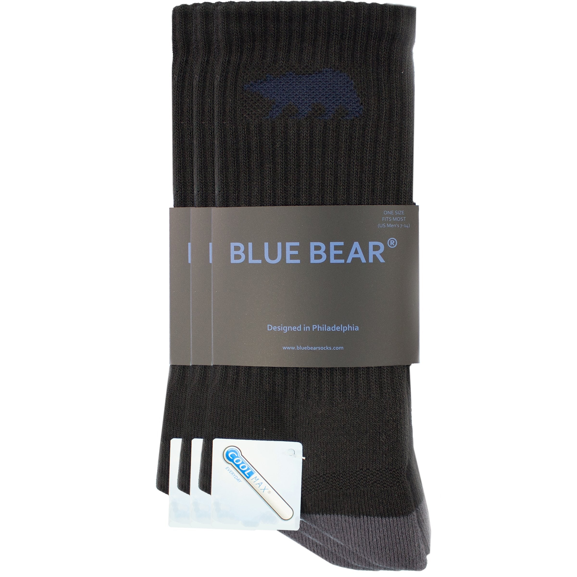 Men's Performance All-Purpose Crew Socks - 3 Pack - Blue Bear Socks