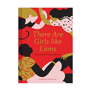 "Display photo of the front cover of the book ""There are Girls like Lions"".  A red cover features abstract depictions of three woman, one Black, one Blond, and one brunette, all with arms linked in a symbol of solidarity."