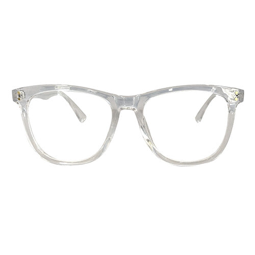 A pair of eye glasses with a clear plastic frame.