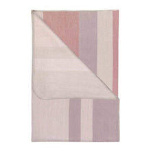Load image into Gallery viewer, Folded alpaca throw blanket in muted pinks, greys, and beige colors.
