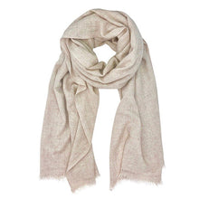 Load image into Gallery viewer, Light colored cashmere scarf is displayed