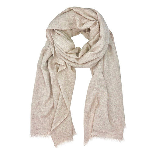Light colored cashmere scarf is displayed