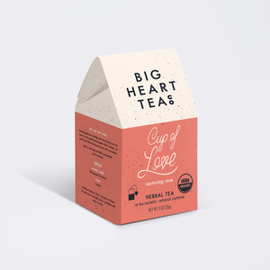 A display photo of a box of Big Heart Tea.  The box reads Cup of Love.