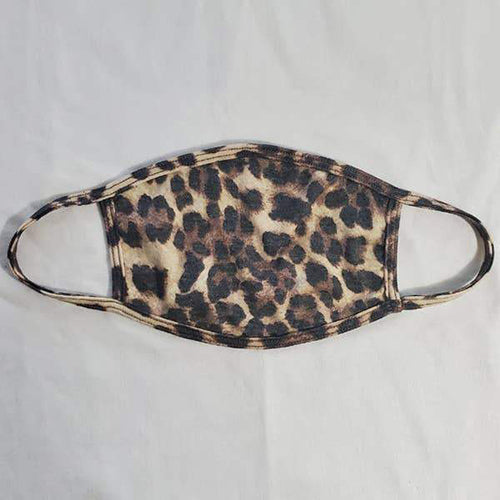 Animal print face covering with fabric ear loops