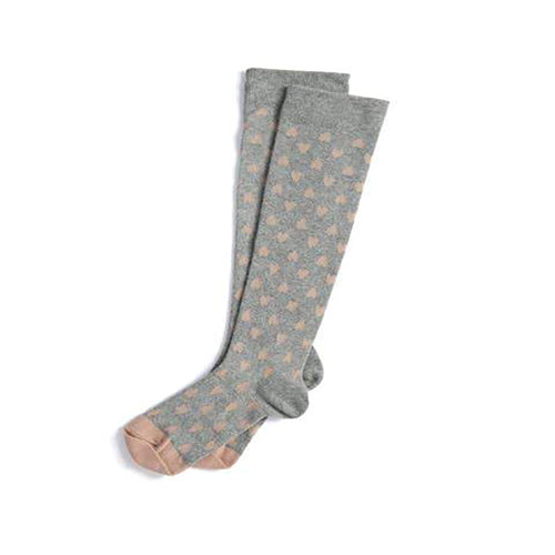 Display photo of a pair of compression socks.  Grey socks with pink hearts.