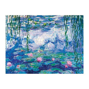 "A completed jigsaw puzzle featuring the artistic work of Monet ""Water Lilly Nympheas""."