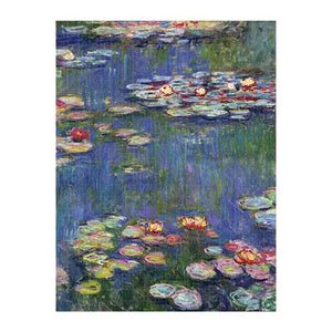 "A completed jigsaw puzzle featuring the artistic works of Monet ""Lily Pads""."