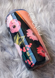 Coral & Navy Floral Split Fabric & Glitter Tumbler