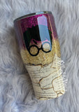 Harry Potter Book Pages Glitter Tumbler