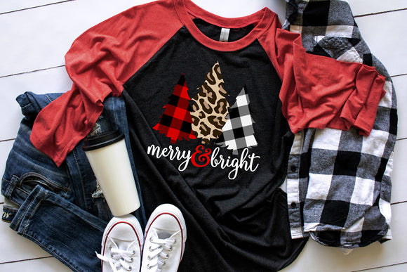 Merry & Bright Patterned Trees Shirt