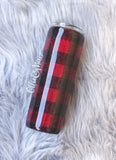 Buffalo Plaid Glitter Tumbler