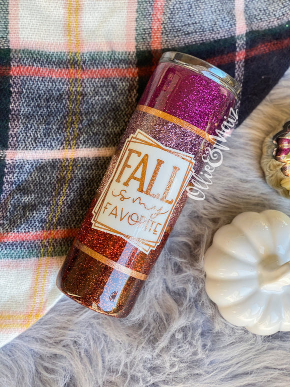 Fall Colorblock Glitter Tumbler