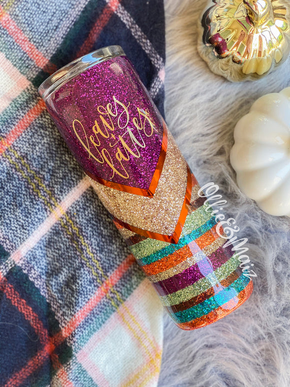 Fall Colors Striped Glitter Tumbler