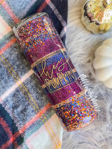 Fall Striped Glitter Tumbler