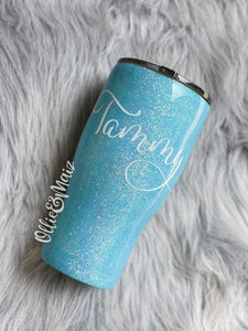 Light Blue Glitter Tumbler