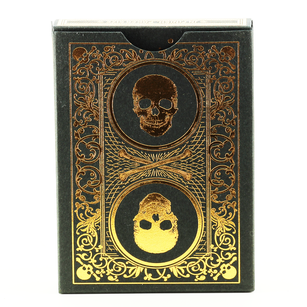 SKULL & BONES Gld & Blk Bicycle Cards