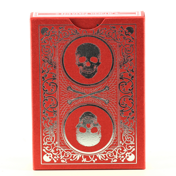 SKULL & BONES Red & Silver Bicycle Cards