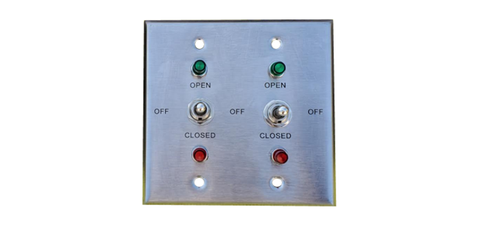 TCS Signs brushed stainless steel 2-gang switch plate with red and green indicator lights.