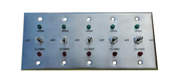 TCS Signs brushed stainless steel 5-gang switch plate with red and green indicator lights.