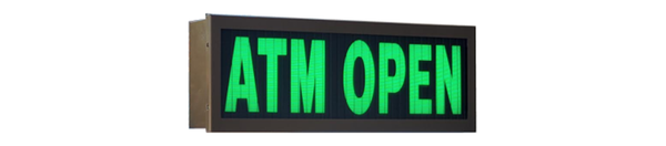 TCS Signs Model 617 LED backlit drive thru ATM OPEN sign in a stainless steel case with a dark bronze powder coat finish.