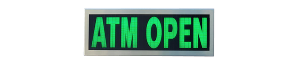 TCS Signs Model 617 LED backlit drive thru ATM OPEN sign in a stainless steel case with a brushed stainless steel finish.