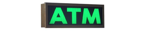 TCS Signs Model 617 LED backlit drive thru ATM sign in a stainless steel case with a dark bronze powder coat finish.