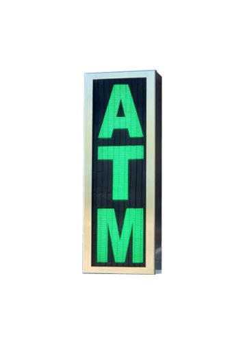 TCS Signs Model 617 LED backlit drive thru ATM sign in a stainless steel case with a brushed stainless steel finish.