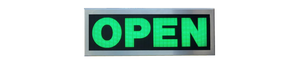TCS Signs Model 617 LED backlit drive thru OPEN sign in a stainless steel case with a brushed stainless steel finish.