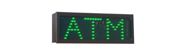TCS Signs Model 617 LED direct view drive thru ATM sign in a stainless steel case with a dark bronze powder coat finish.