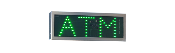 TCS Signs Model 617 LED direct view drive thru ATM sign in a stainless steel case with a brushed stainless steel finish.