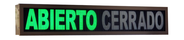 TCS Signs model 634 LED backlit drive thru ABIERTO CERRADO sign in a stainless steel case with a dark bronze powder coat finish.