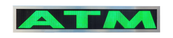 TCS Signs model 634 LED backlit drive thru ATM sign in a stainless steel case with a brushed stainless steel finish.