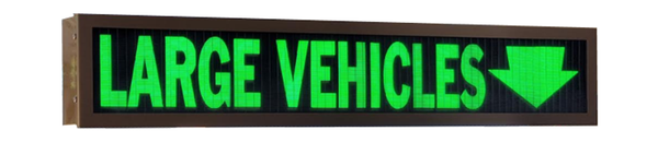 TCS Signs model 634 LED backlit drive thru LARGE VEHICLES sign in a stainless steel case with a dark bronze powder coat finish.