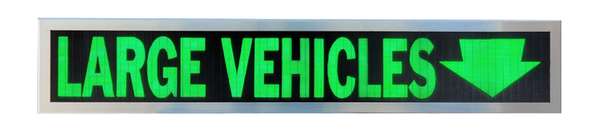 TCS Signs model 634 LED backlit drive thru LARGE VEHICLES sign in a stainless steel case with a brushed stainless steel finish.
