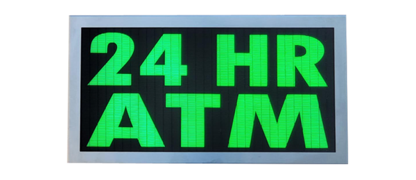 TCS Signs model 917 LED backlit drive thru 24 HOUR ATM sign in a stainless steel case with a brushed stainless steel finish.