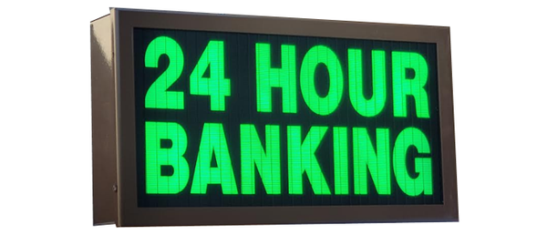 TCS Signs model 917 LED backlit drive thru 24 HOUR BANKING sign in a stainless steel case with a dark bronze powder coat finish.